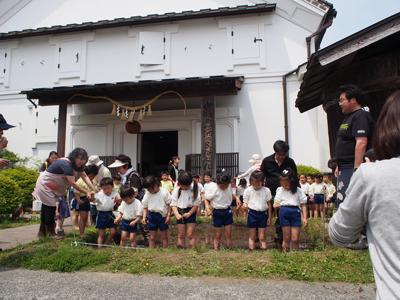 幼稚園児の餅米の田植えスタート